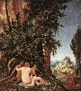 ALTDORFER, Albrecht Landscape with Satyr Family oil