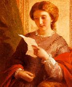 Alfred Chalon Girl Reading a Letter oil