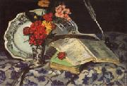 Armand guillaumin Flowers Faience Books oil