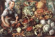 BEUCKELAER, Joachim Market Woman with Fruit, Vegetables and Poultry  intre oil