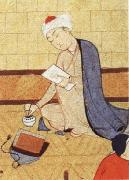 unknow artist Qays,the future Majnun,begins as a scribe to write his poem in honor of the theophany through Layli china oil painting reproduction