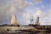 Abraham Hulk Fisherfolk and Ships by the Coast oil