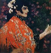 Alexander Yakovlevich GOLOVIN The Woman of spanish had on a shawl red oil