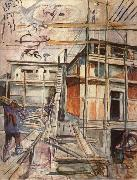 Edvard Munch Workroom building in winter china oil painting reproduction