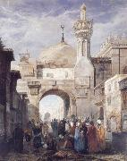 Adrien Dauzats Mosque of Al Azhar in Cairo oil