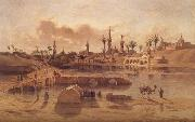 Adrien Dauzats View of Damanhur during the Flooding of the Nile oil