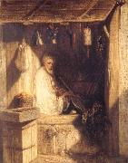 Alexandre Gabriel Decamps Tukish Merchant Smoking in his Shop oil