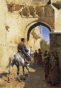 Edwin Lord Weeks A Street SDcene in North West India,Probably Udaipur china oil painting reproduction