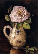 Hirst, Claude Raguet White Rose in a Glazed Ceramic Pitcher with Floral Design china oil painting reproduction