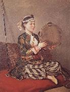 Jean-Etienne Liotard Girl in Turkish Costume with Tambourine china oil painting reproduction