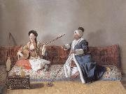 Jean-Etienne Liotard Portrait of M.Levett and of Mlle Glavany Seated on a Sofa china oil painting reproduction