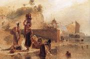 William Daniell Women Fetching Water from the River Ganges near Kara china oil painting reproduction