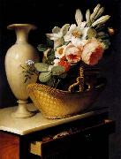 Antoine Berjon Still-Life with a Basket of Flowers oil