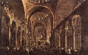 GUARDI, Francesco Doge Alvise IV Mocenigo Appears to the People in St Mark's Basilica in 1763 china oil painting reproduction
