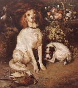 William Strutt Dogs with Flowers and game china oil painting reproduction