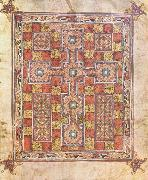 unknow artist Rug page with cross from the Evangeliarium Van Lindisfarne china oil painting reproduction