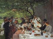 Albert Auguste Fourie The wedding meal in Yport oil