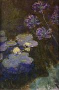Claude Monet Water Lilies and Agapanthus Lilies china oil painting reproduction