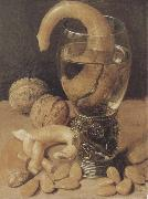 Georg Flegel Style life with wine glass and pretzel china oil painting reproduction