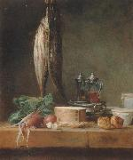 Jean Baptiste Simeon Chardin Style life with fish, Grunzeug, Gougeres shot el as well as oil and vinegar pennant on a table china oil painting reproduction