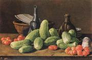 Melendez, Luis Eugenio Cucumber and tomatoes china oil painting reproduction