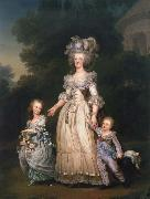 Adolf-Ulrik Wertmuller Queen Mary Antoinette with sina tva baby in Triangle park oil