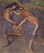 Edgar Degas Two dance wear yellow dress china oil painting reproduction