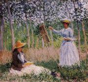 Claude Monet Suzanne Reading and Blanche Painting by the Marsh at Giverny china oil painting reproduction
