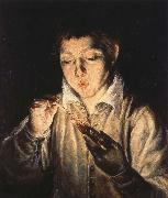 El Greco A Boy blowing on an Ember to light a candle china oil painting reproduction