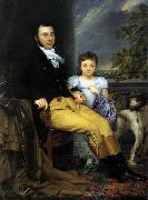 Joseph Denis Odevaere Portrait of a Prominent Gentleman with his Daughter and Hunting Dog china oil painting reproduction