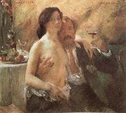 Lovis Corinth Self-Portrait with his wife and a glass china oil painting reproduction