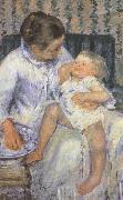 Mary Cassatt Mother about to wash her sleepy child china oil painting reproduction