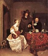 TERBORCH, Gerard A Young Woman Playing a Theorbo to Two Men china oil painting reproduction