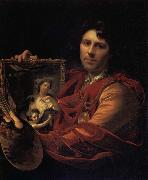 Adriaen van der werff Self-Portrait with a Portrait of his Wife,Margaretha van Rees,and their Daughter,Maria oil