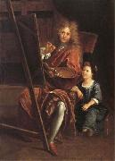 Antoine Coypel Portrait of the Artist with his Son,Charles-Antoine oil