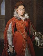 Alessandro Allori With the red dog lady oil