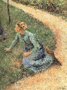 Camille Pissarro Peasant woman sitting on the side of the road china oil painting reproduction