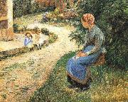 Camille Pissarro Sitting in the garden of the maids china oil painting reproduction