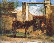 Camille Pissarro Farm before the donkey china oil painting reproduction
