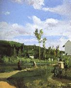 Camille Pissarro Walking along the village china oil painting reproduction