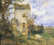 Camille Pissarro Farmhouse in front of women and sheep china oil painting reproduction