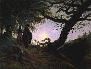 Caspar David Friedrich Man and Woman Contemplating the Moon china oil painting reproduction
