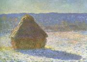Claude Monet haystack in the morning,snow effect china oil painting reproduction