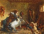 Eugene Delacroix Arab Horses Fighting in a Stable china oil painting reproduction