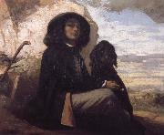 Gustave Courbet Self-Portratit with Black Dog china oil painting reproduction