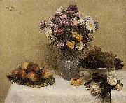 Henri Fantin-Latour White Roses, Chrysanthemums in a Vase, Peaches and Grapes on a Table with a White Tablecloth china oil painting reproduction