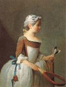 Jean Baptiste Simeon Chardin girl with shuttlecock china oil painting reproduction