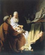 Rembrandt van rijn two lod men disputing china oil painting reproduction