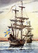 unknow artist kalmare nyckel och fagel grip pa alusborgsfjorden fore avfarden till nya sverige i borjan av november 1637 china oil painting reproduction