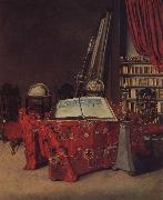 Jan van der Heyden Globe still life of books and other china oil painting reproduction